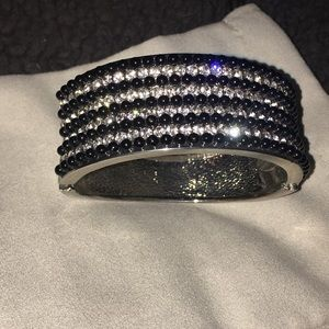 Express Jewelry - Black and White Rhinestone Silver Bangle Bracelet